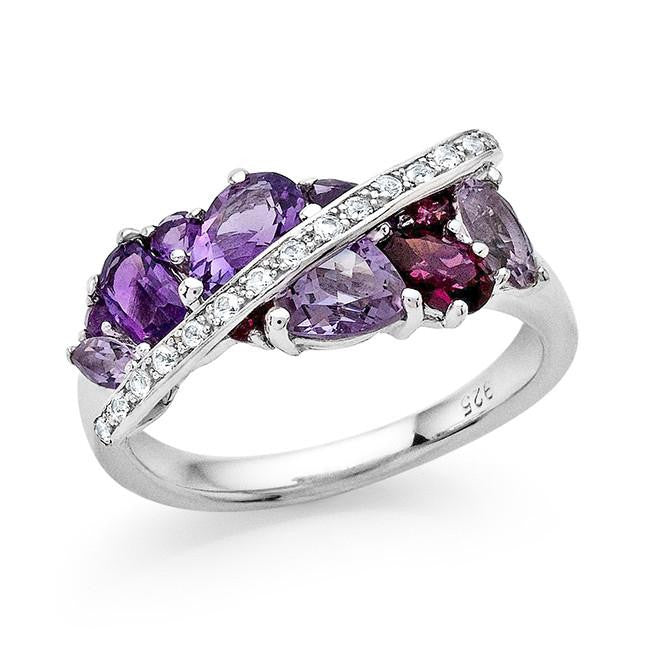 1.60 Carat Genuine Amethyst, Garnet & White Sapphire Ring in Sterling Silver