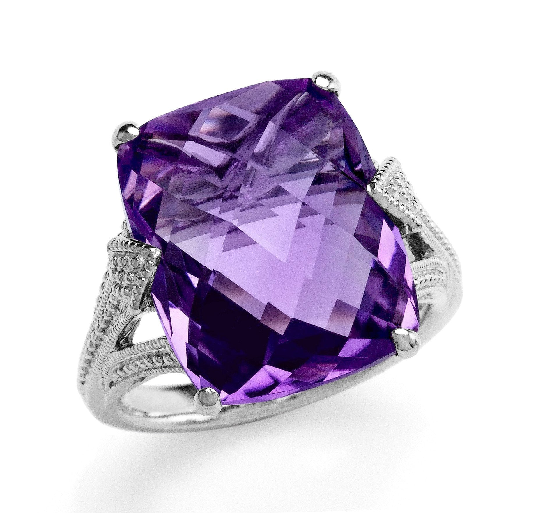 8.35 Carat Genuine Checkerboard Amethyst Cocktail Ring in Sterling Silver