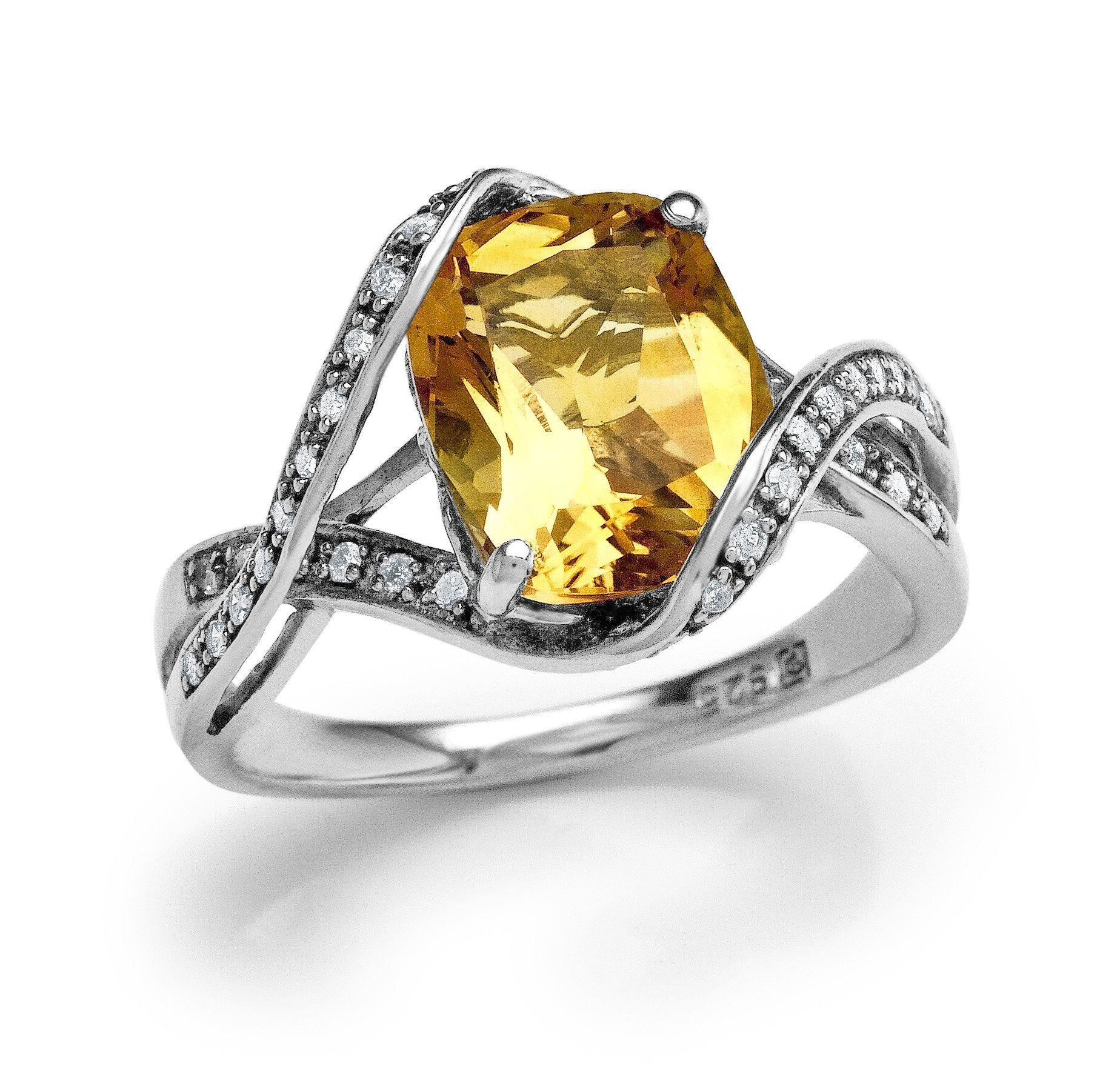 3.05 Carat Genuine Citrine & Diamond Ring in Sterling Silver