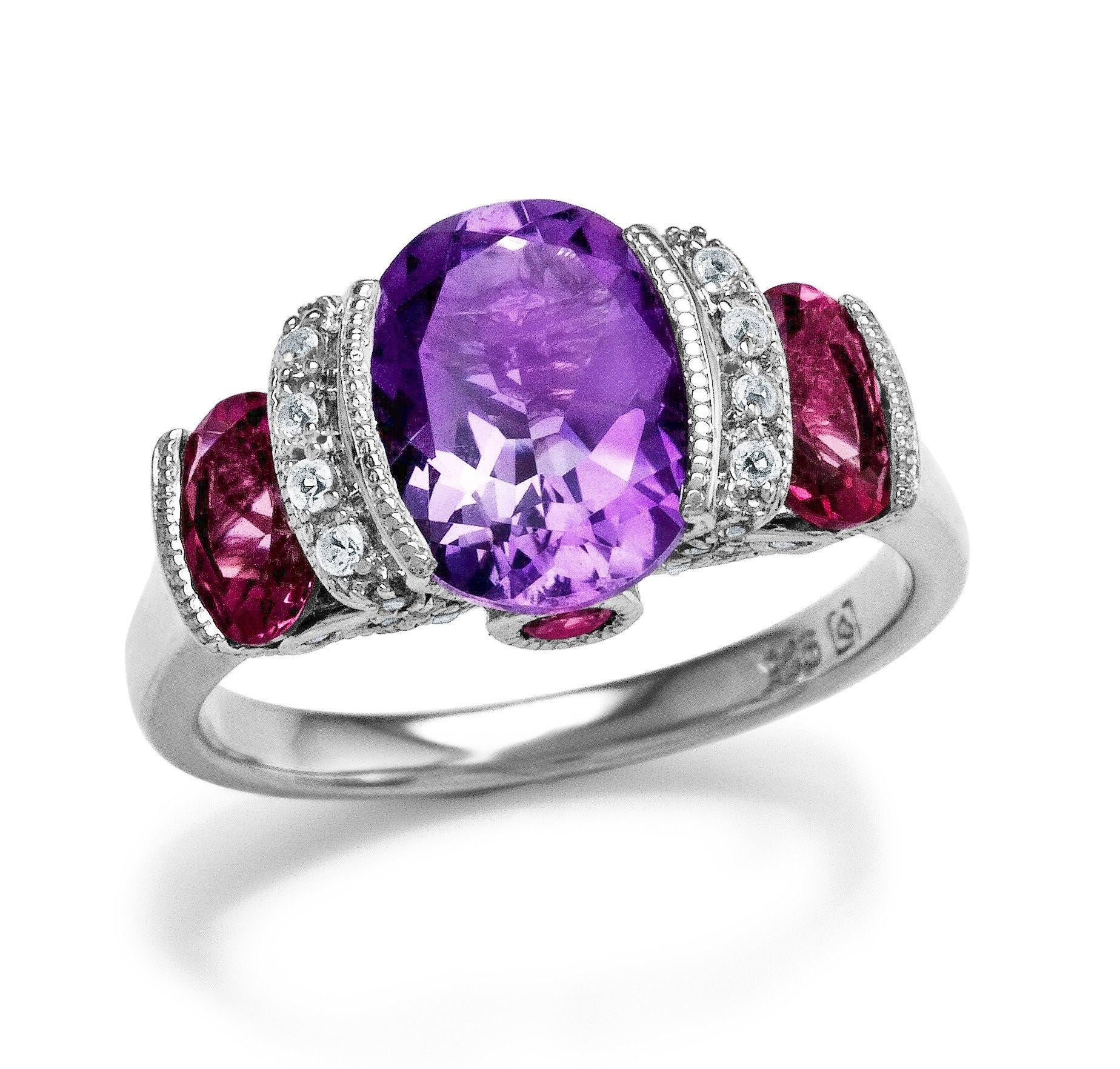 3.50 Carat Genuine Amethyst & Pink Tourmaline & Created White Sapphire Sterling Silver Ring