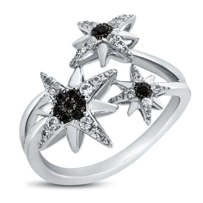 Black Spinel & White Sapphire Star Ring in Sterling Silver