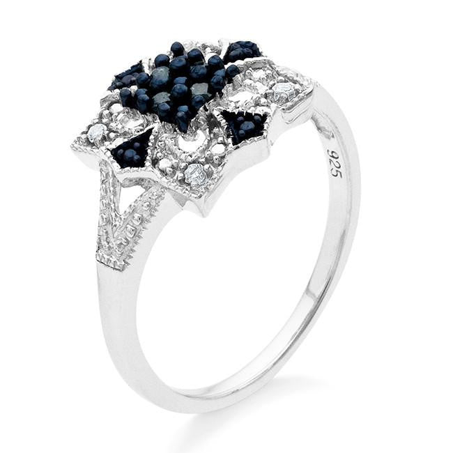 0.08 Carat Blue & White Diamond Ring in Sterling Silver
