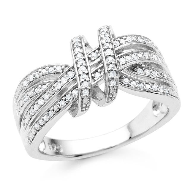 0.20 Carat Diamond Swirl Ring in Sterling Silver