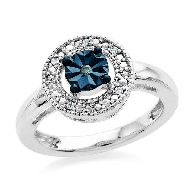 Diamond Miracles: Blue & White Diamond Accented Ring in Sterling Silver