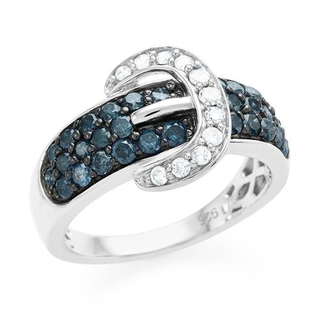 1.00 Carat Blue & White Diamond Belt Ring in Sterling Silver