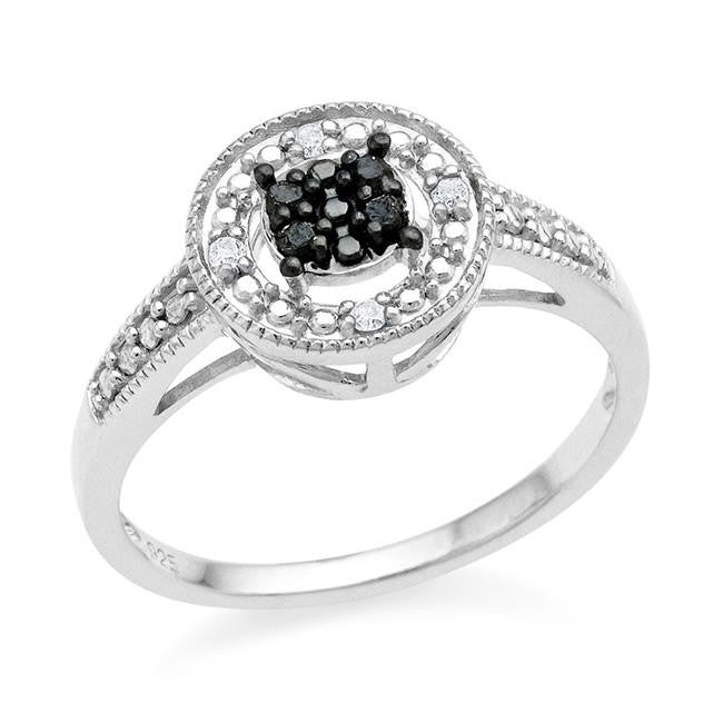 0.08 Carat Black & White Diamond Ring in Sterling Silver