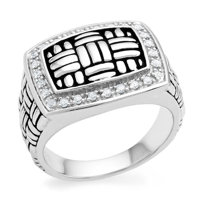 Mens Shop: 0.25 Carat Diamond Mens Ring in Sterling Silver