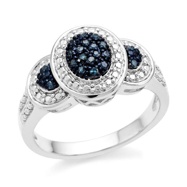 0.10 Carat Blue Diamond Ring in Sterling Silver