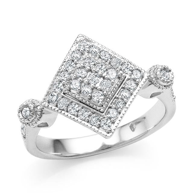 1/2 Carat Diamond Square Ring in Sterling Silver