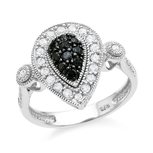 0.50 Carat Black & White Diamond Ring in Sterling Silver