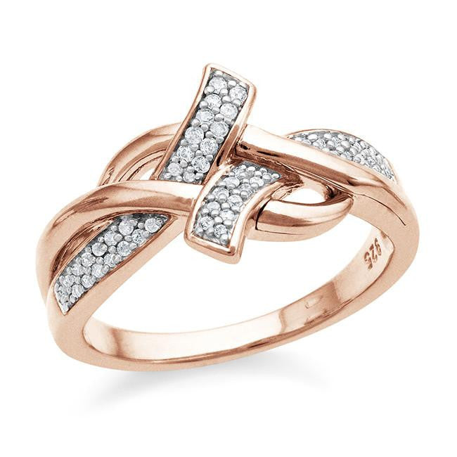0.16 Carat Diamond Ring in Rose Gold-Plated Sterling Silver