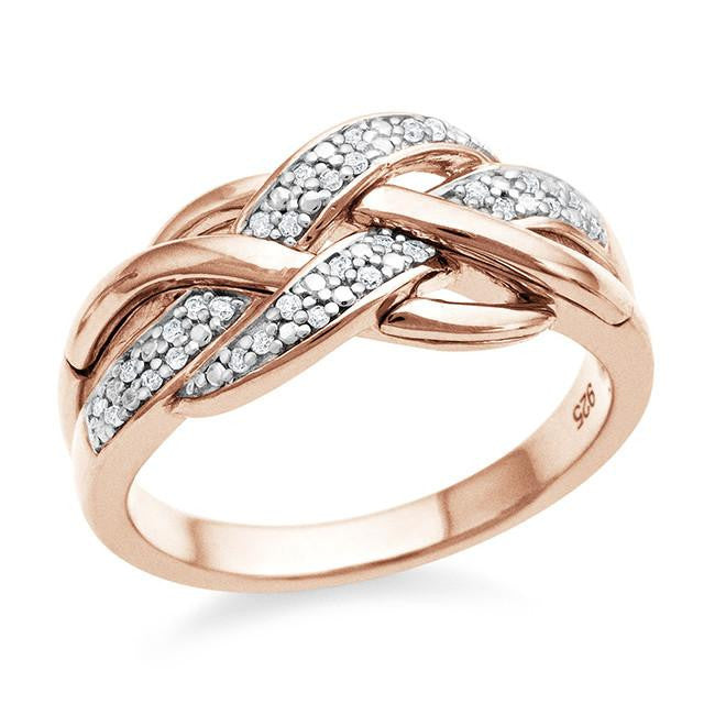 0.10 Carat Diamond Ring in Rose Gold-Plated Sterling Silver