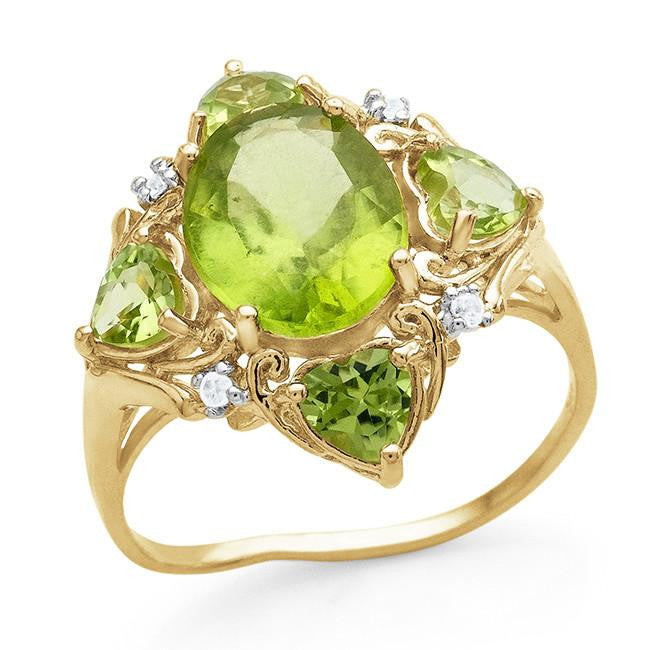 4.35 Carat Genuine Peridot Ring in 14K Yellow Gold Over Silver