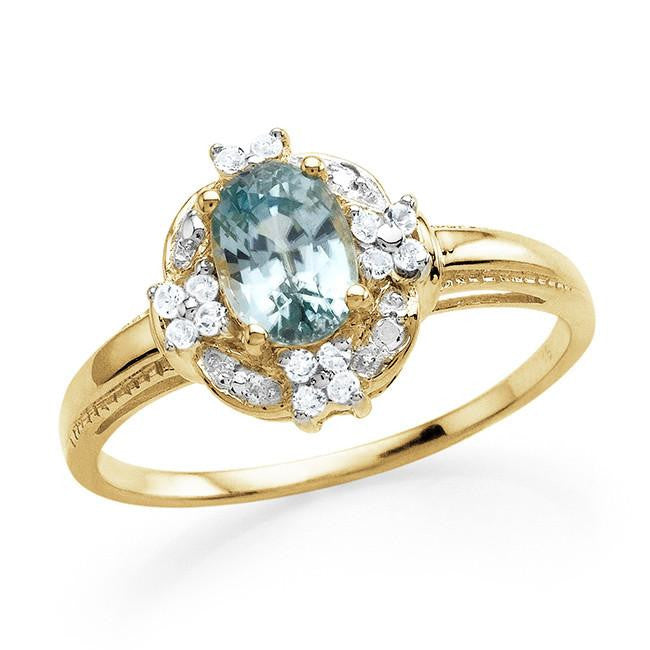 1.35 Carat Genuine Blue Zircon & White Topaz Ring in 14K Yellow Gold Over Silver