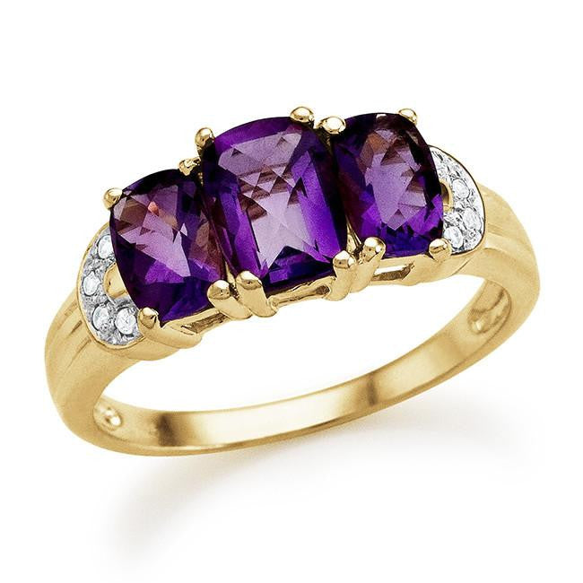 1.90 Carat Genuine Amethyst 3-Stone Ring in 14K Gold Over Silver