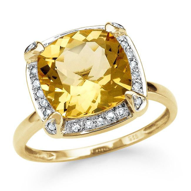 4.30 Carat Genuine Citrine Cocktail Ring in 14K Gold-Plated Silver