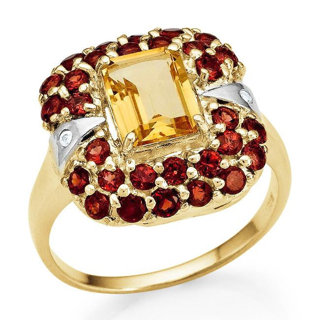 3.10 Carat Genuine Citrine & Garnet Ring in 14K Gold-Plated Silver