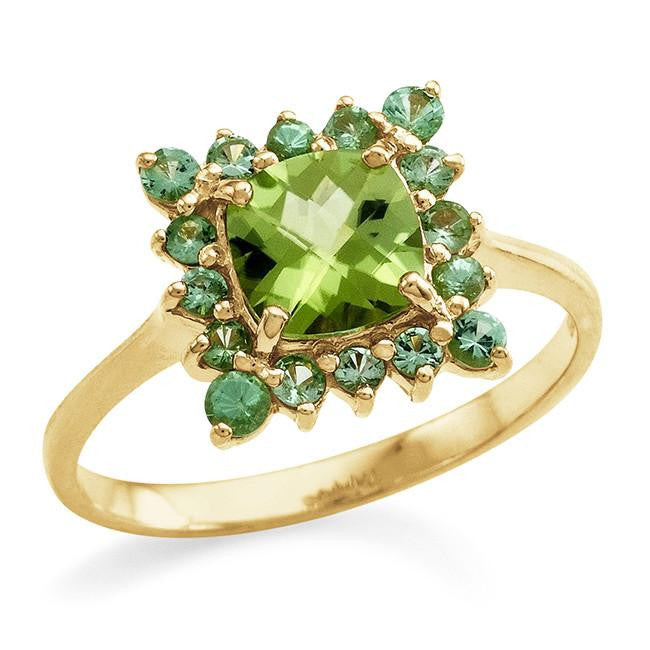 1.45 Carat Genuine Peridot & Savorite Ring in 14K Gold Over Silver