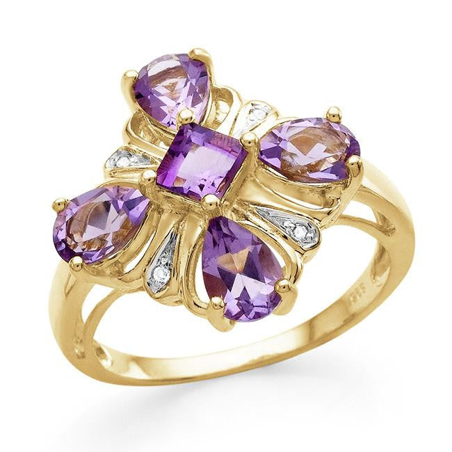 1.90 Carat Genuine Amethyst & White Topaz Ring in 14K Yellow Gold Over Silver