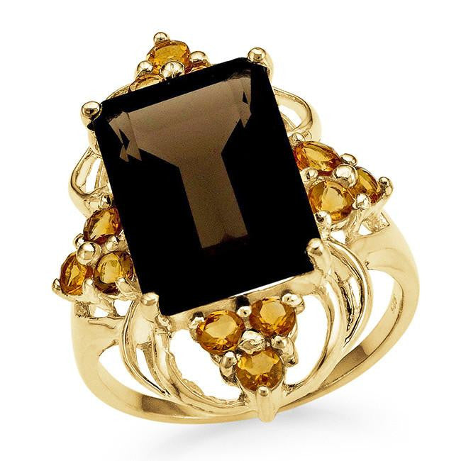 8.15 Carat Genuine Smoky Quartz & Citrine Ring in 14K Gold-Plated Silver