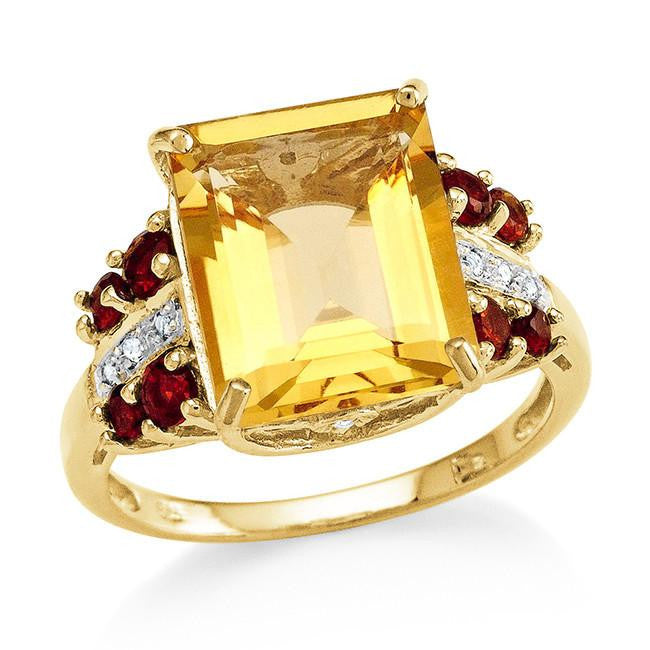 6.10 Carat Genuine Citrine & White Topaz Cocktail Ring in 14K Gold Over Silver