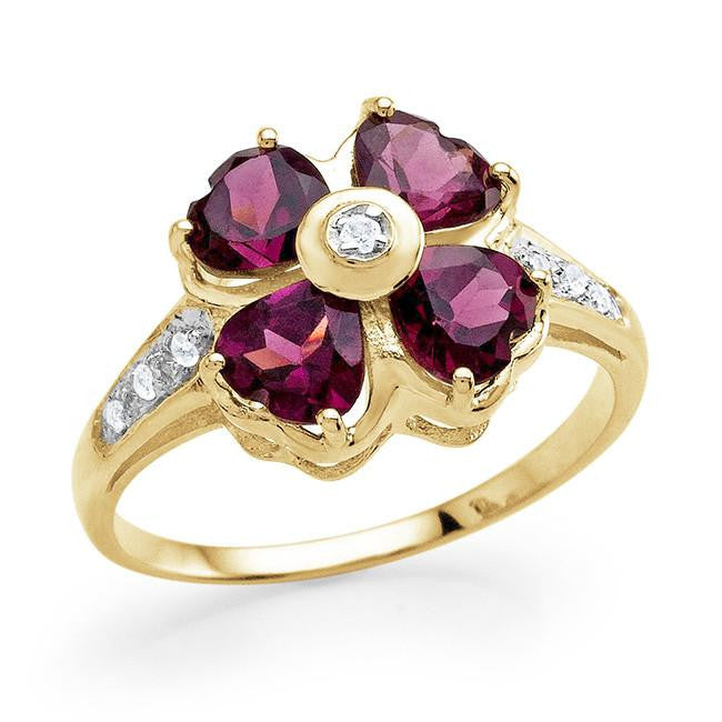 1.95 Carat Genuine Rhodolite Garnet & White Topaz Flower Ring in 14K Yellow Gold Over Silver