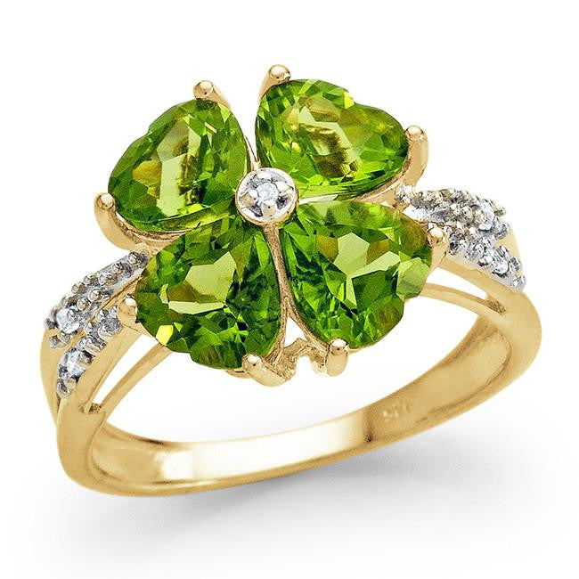 4.80 Carat Genuine Peridot Ring in 14K Gold Over Silver