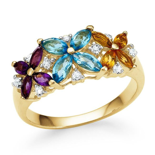 1.50 Carat Genuine Multi-Color Gemstone Flower Ring in 14K Gold-Plated Silver