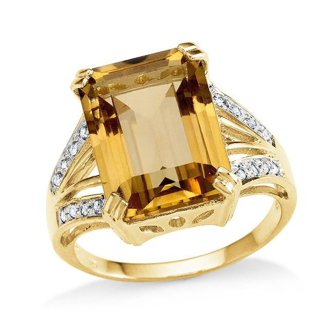 7.15 Carat Genuine Citrine & White Topaz Cocktail Ring in 14K Gold Over Silver