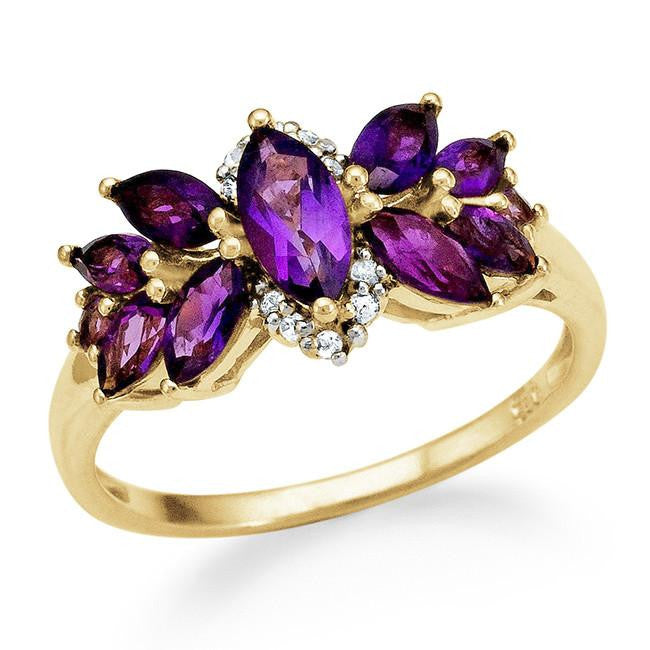 1.33 Carat Genuine Amethyst & White Topaz Ring in 14K Yellow Gold Over Silver