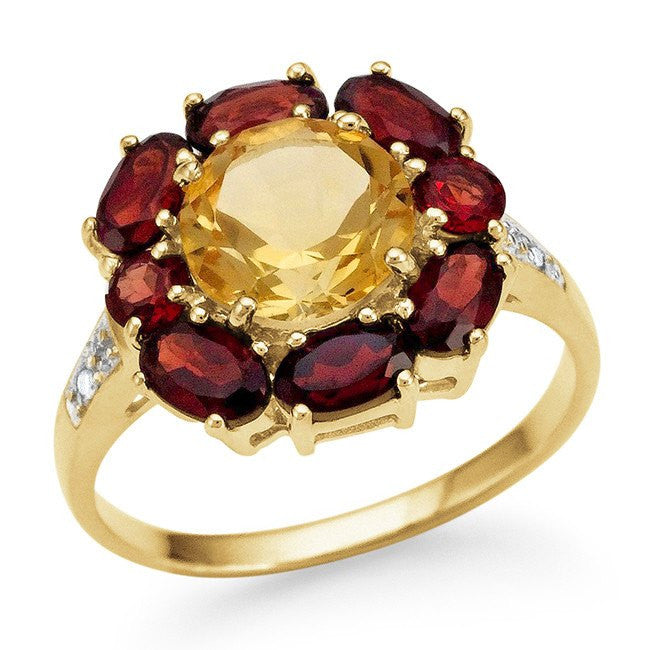 4.00 Carat Genuine Citrine & Garnet Ring in 14K Gold-Plated Silver