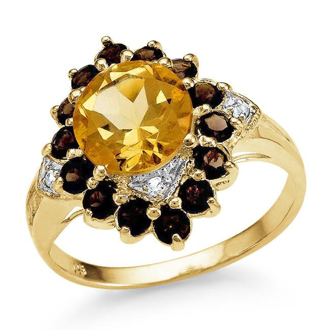 2.70 Carat Genuine Citrine & Smoky Quartz Ring in 14K Yellow Gold Over Silver