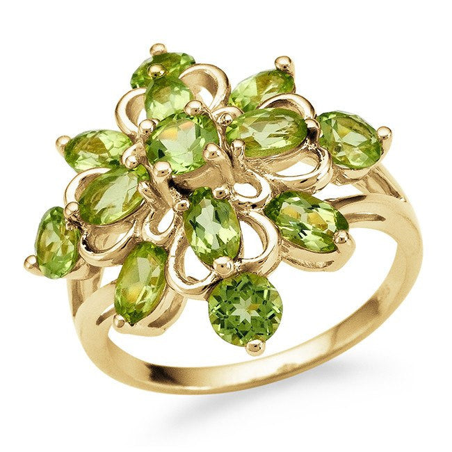 3.30 Carat Genuine Peridot Ring in 14K Gold-Plated Silver