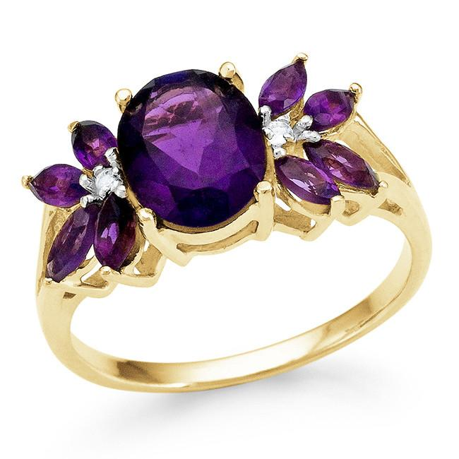 2.25 Carat Genuine Amethyst Ring in 14K Gold-Plated Silver