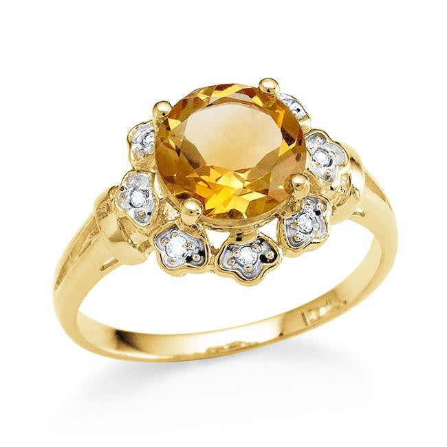 1.75 Carat Genuine Citrine & White Topaz Flower Ring in 14K Gold Over Silver