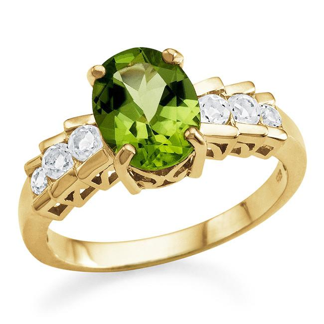 2.00 Carat Genuine Peridot Ring in 14K Gold Over Silver
