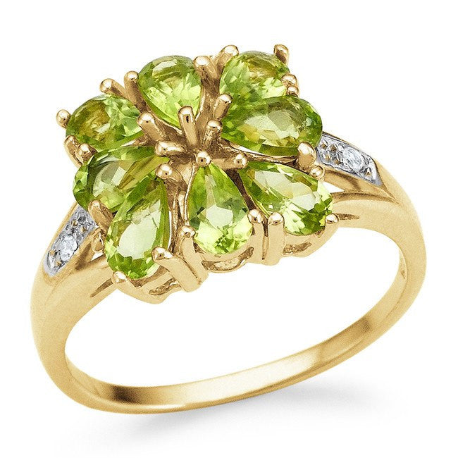 1.75 Carat Genuine Peridot Ring in 14K Gold-Plated Silver