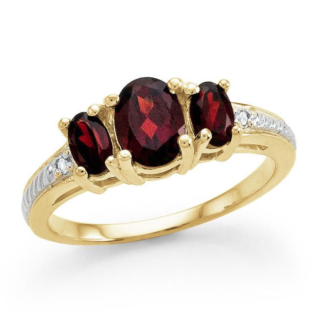 1.60 Carat Genuine Garnet 3-Stone Ring in 14K Gold Over Silver