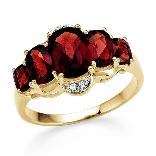 3.25 Carat Genuine Garnet 5-Stone Ring in 14K Gold-Plated Silver