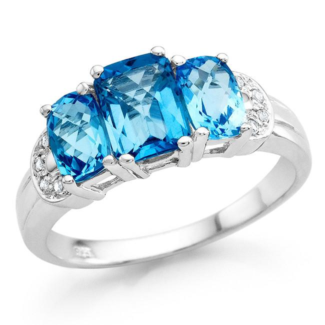 2.20 Carat Genuine Swiss Blue Topaz 3-Stone Ring in Sterling Silver