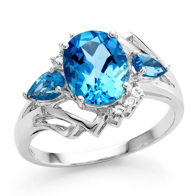 2.45 Carat Genuine Swiss Blue Topaz Ring in Sterling Silver