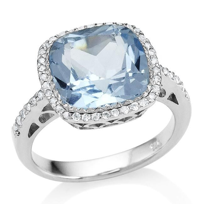 5.50 Carat Genuine Blue & White Topaz Cocktail Ring in Sterling Silver