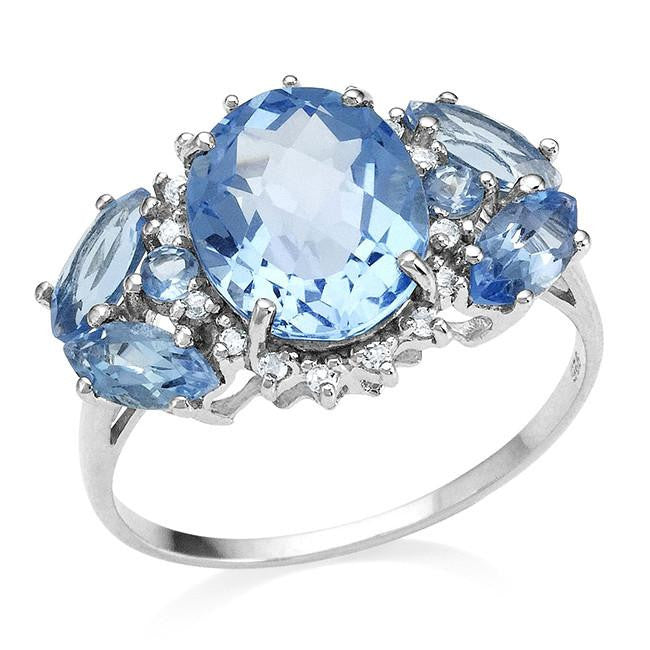 4.25 Carat Genuine Swiss Blue Topaz Ring in Sterling Silver