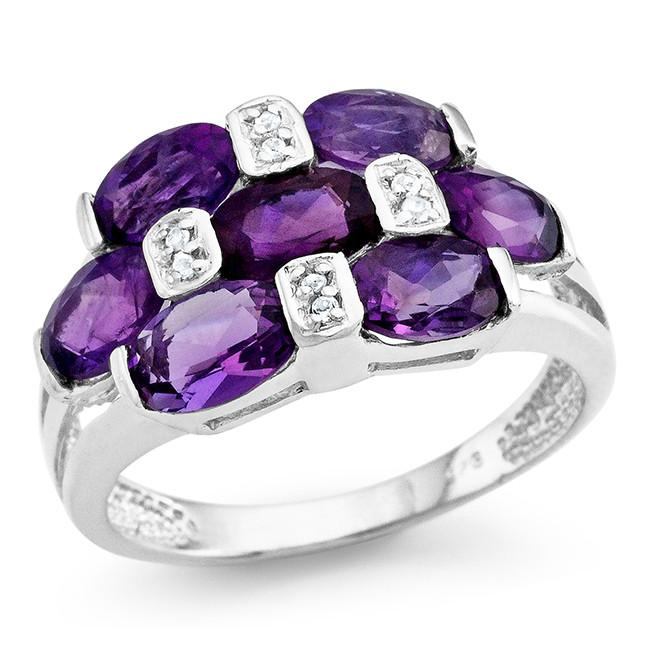 3.25 Carat Genuine Amethyst Ring in Sterling Silver