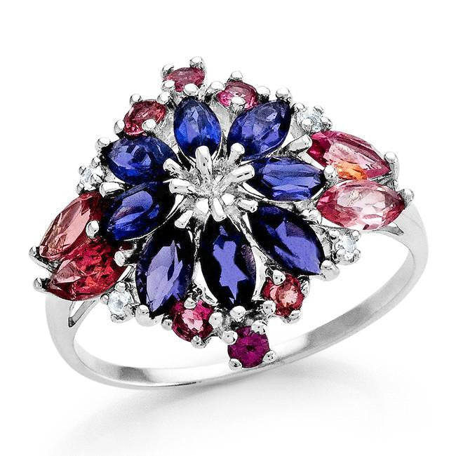 1.85 Carat Genuine Pink Tourmaline & Iolite Ring in Sterling Silver