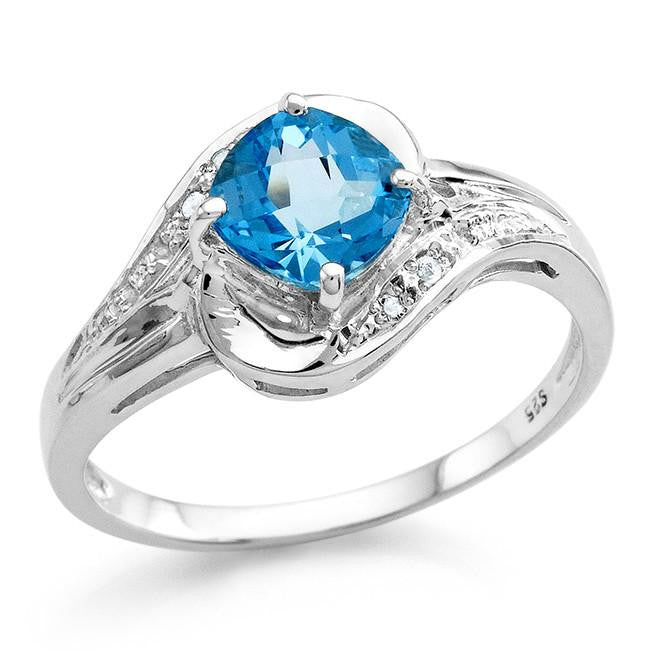1.10 Carat Genuine Blue Topaz Ring in Sterling Silver
