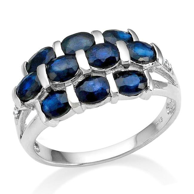 2.50 Carat Genuine Blue Sapphire Ring in Sterling Silver