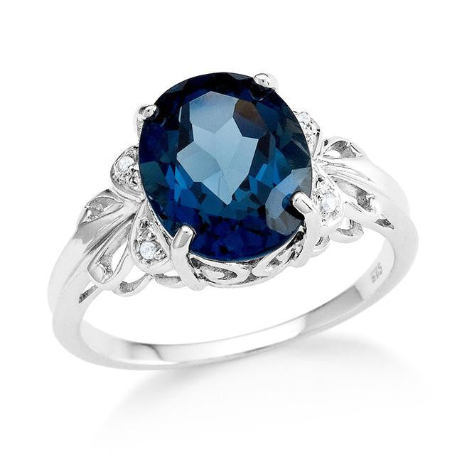 4.10 Carat Genuine London Blue & White Topaz Ring in Sterling Silver
