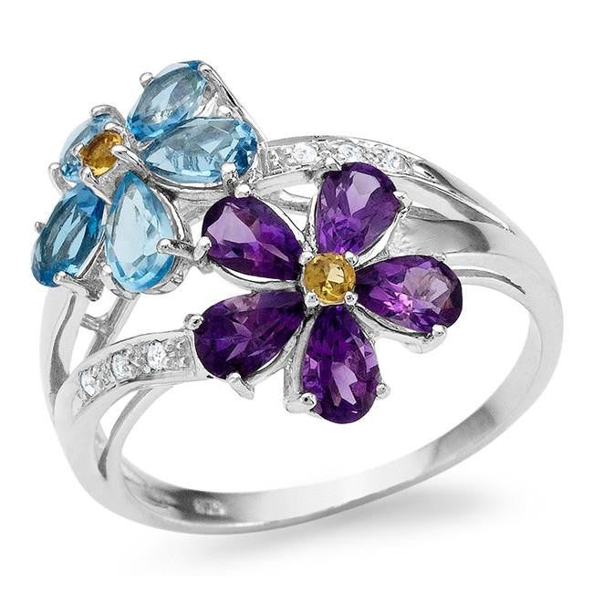 2.30 Carat Genuine Amethyst & Swiss Blue Topaz Flower Ring in Sterling Silver