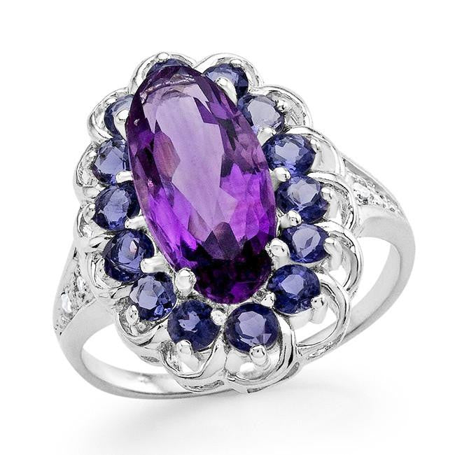 3.15 Carat Genuine Amethyst & Iolite Ring in Sterling Silver